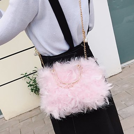 Plain Chain Rectangle Feather Winter Tote Bags