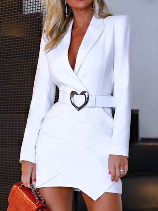 Long Sleeve Asymmetric Notched Lapel Above Knee Asymmetrical Women's Long Sleeve Dress