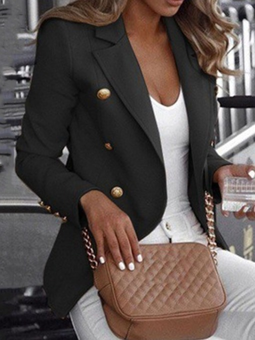 Plain Slim Notched Lapel Long Sleeve Standard Women's Casual Blazer