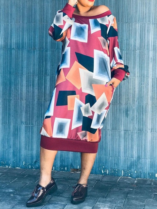Long Sleeve Off Shoulder Print Mid-Calf Geometric Women's Long Sleeve Dress