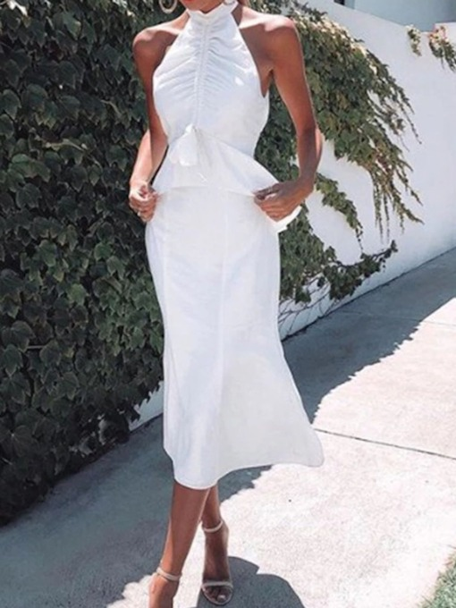 White Sleeveless Lace-Up Mid Waist Women's Maxi Dress