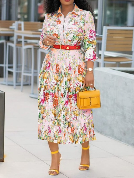 Print Mid-Calf Lapel Three-Quarter Sleeve Floral Women's Dress