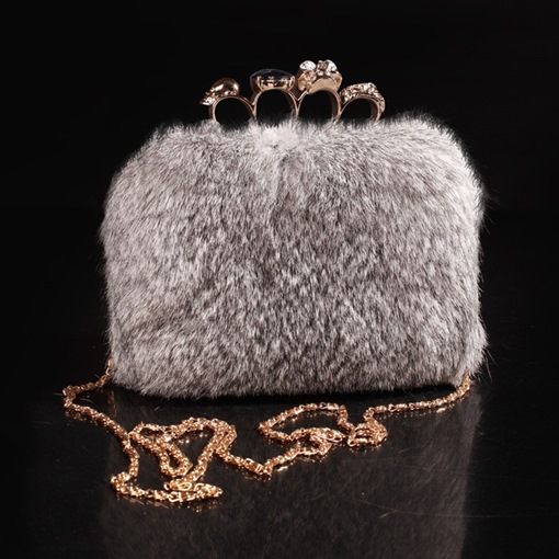Square Fluffy Soft Clutches & Evening Bags