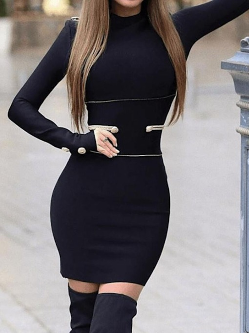 Button Stand Collar Long Sleeve Above Knee Regular Women's Bodycon Dress