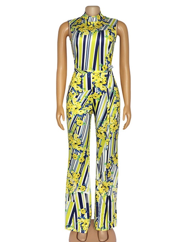Color Block Full Length Print Straight Women's Jumpsuit
