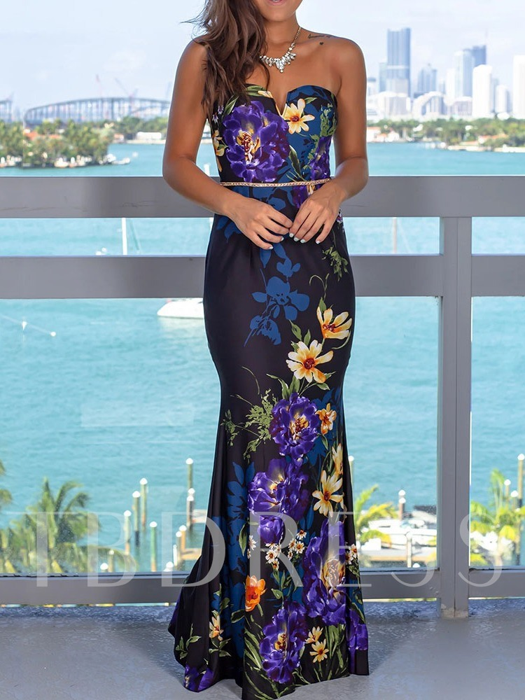 Floor-Length Sleeveless Print Mermaid Women's Dress
