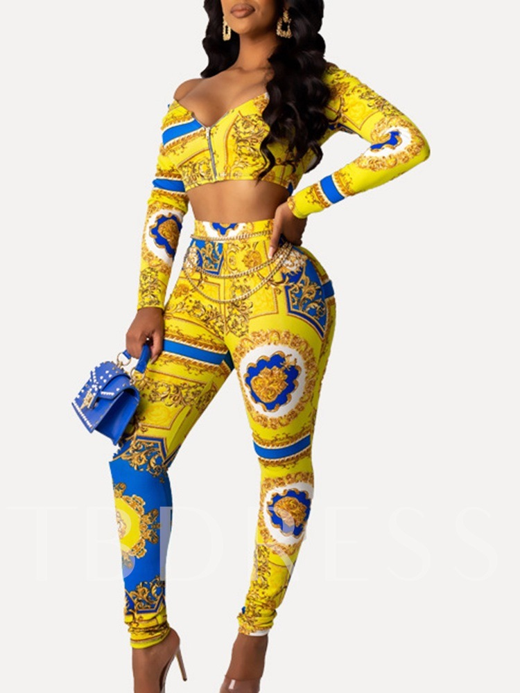 Sexy Color Block Print Casual Women's Two Piece Sets