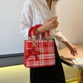Christmas Plaid PU Bowtie Rectangle Tote Bags