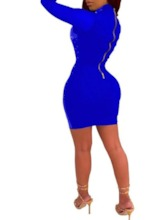 Stand Collar Above Knee Long Sleeve Mesh Pullover Women's Bodycon Dress