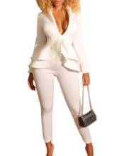 Office Lady Plain Pencil Pants Women's Two Piece Sets