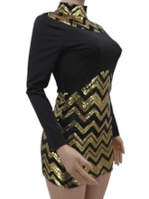 Long Sleeve Sequins Stand Collar Above Knee Bodycon Women's Bodycon Dress