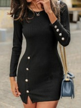 Round Neck Above Knee Nine Points Sleeve Button Casual Women's Bodycon Dress
