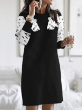 Above Knee Round Neck Print Three-Quarter Sleeve Spring Women's Day Dress