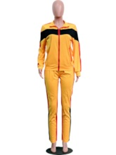 Color Block Coat and Pencil Pants Casual Women's Two Piece Sets