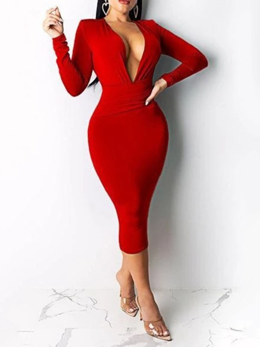 V-Neck Mid-Calf Long Sleeve Sheath Women's Bodycon Dress