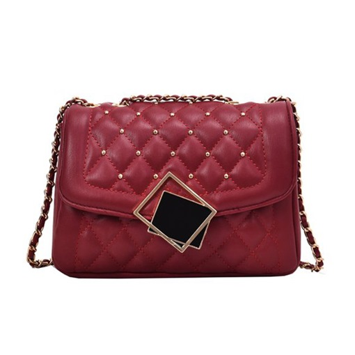 Plaid PU Rivet Rectangle Shoulder Bags
