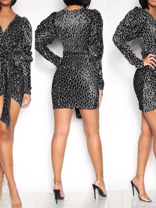 Above Knee V-Neck Long Sleeve Sequins Pullover Women's Bodycon Dress