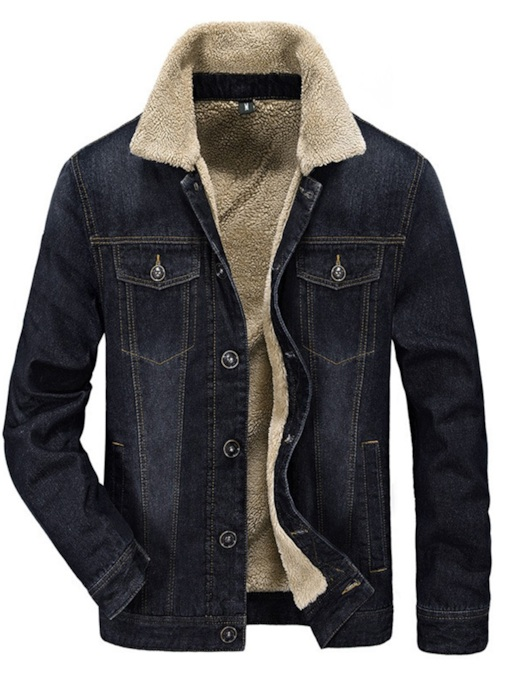 Lapel Thick Pocket Men's Jacket