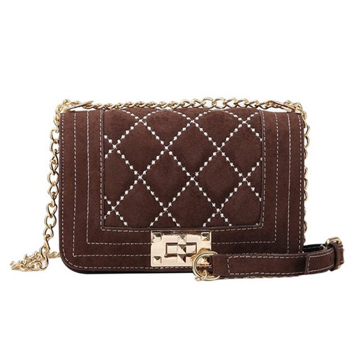 Chain Plaid PU Rectangle Crossbody Bags