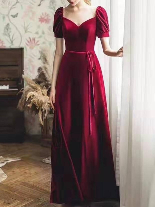Sashes Short Sleeves Velvet Evening Dress 2019