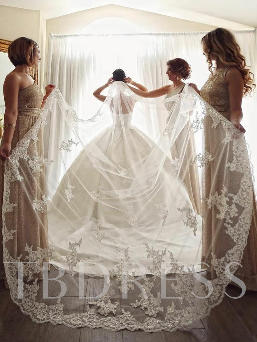 Cathedral Train Applique Edge Sequins One-Layer Wedding Veil 2019