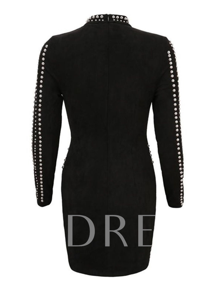 Stand Collar Bead Above Knee Long Sleeve Fall Women's Bodycon Dress