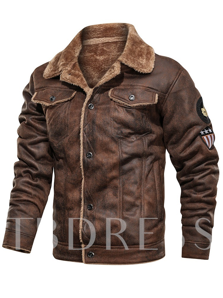 Thick Lapel Color Block Patchwork European Men's Jacket