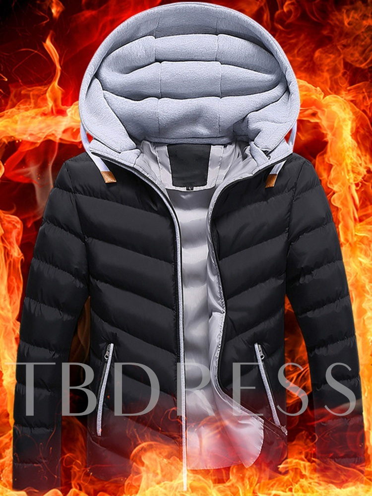 Standard Color Block Zipper Hooded Casual Men's Down Jacket