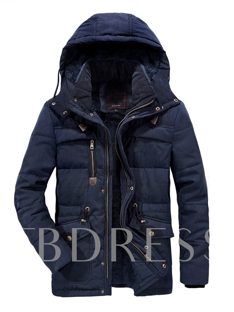 Plain Hooded Patchwork Mid-Length Casual Men's Down Jacket