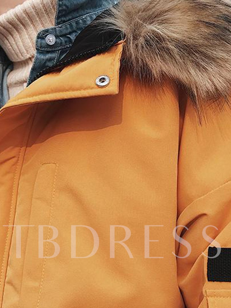 Hooded Patchwork Mid-Length Color Block Zipper Men's Down Jacket