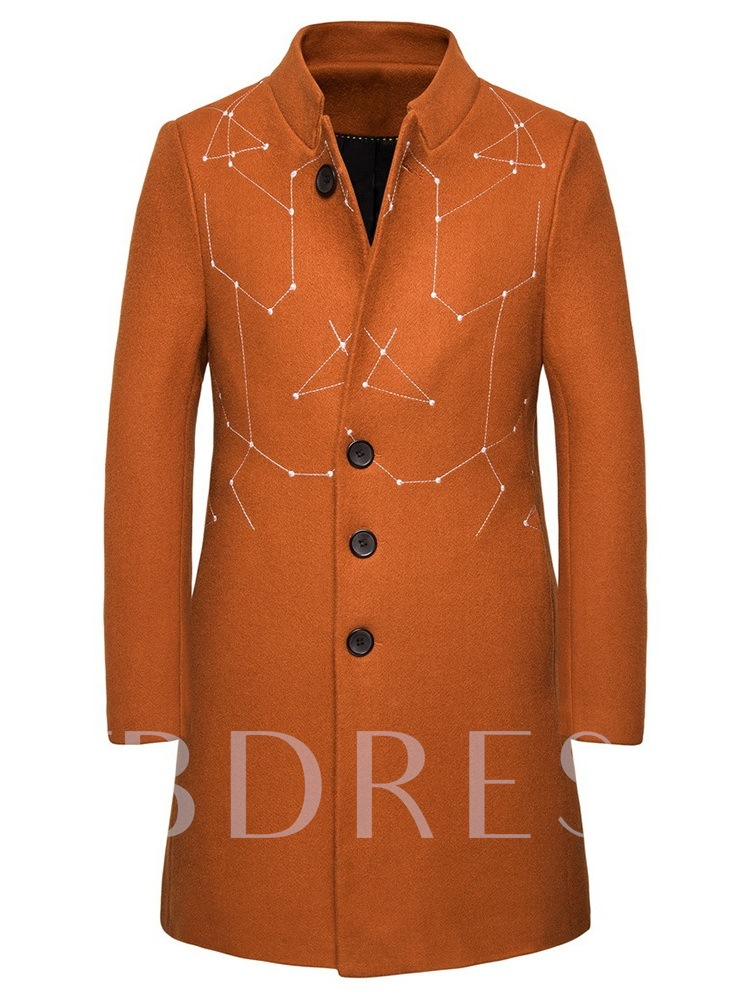Stand Collar Button Color Block Mid-Length Men's Coat