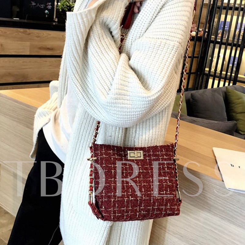 Wool Blends Plaid Knitted Rectangle Crossbody Bags