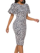 Short Sleeve Print Round Neck Mid-Calf Party/Cocktail Women's Bodycon Dress