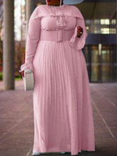 Plus Size Long Sleeve Stand Collar Pleated Floor-Length High Waist Women's Dress