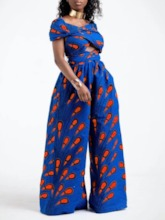 Color Block Full Length Bellbottoms Women's Jumpsuit
