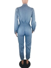 Casual Full Length Plain Zipper Pencil Pants Women's Jumpsuit