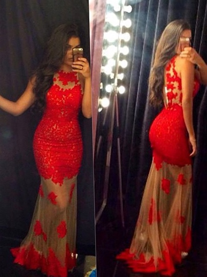Jewel Neck Lace Appliques Sexy Red Prom Dress Wedding Guest Dress Jewel Neck Lace Appliques Sexy Red Prom Dress Wedding Guest Dress
