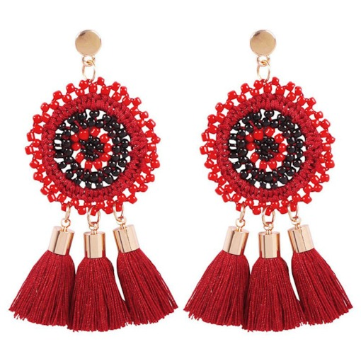 Handmade Bohemian Color Block Drop Earrings
