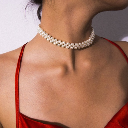European Plain Plastic Pearl Choker Necklace