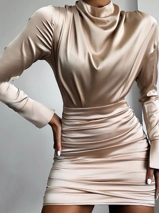 Pleated Stand Collar Above Knee Long Sleeve Fall Women's Bodycon Dress
