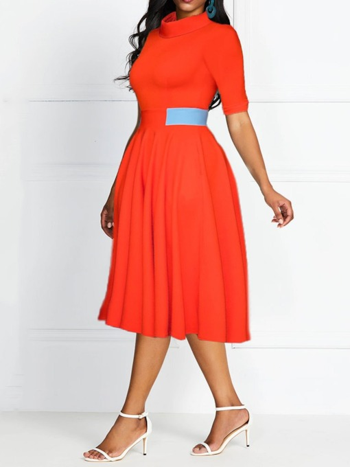 Half Sleeve Mid-Calf Stand Collar Expansion Women's Day Dress