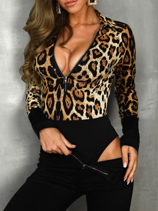 Leopard Shorts Slim Women's Jumpsuit