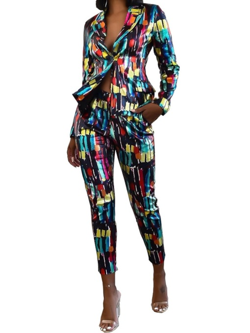 Color Block Print Slim Women's Two Piece Sets