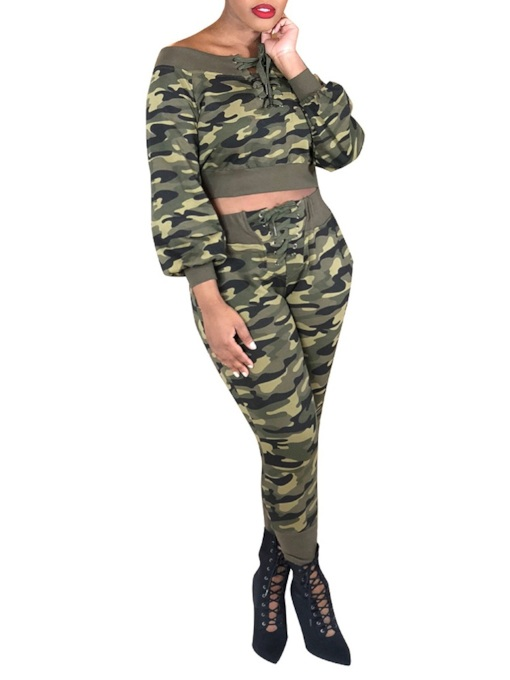 Print Camouflage Round Neck Women's Two Piece Sets