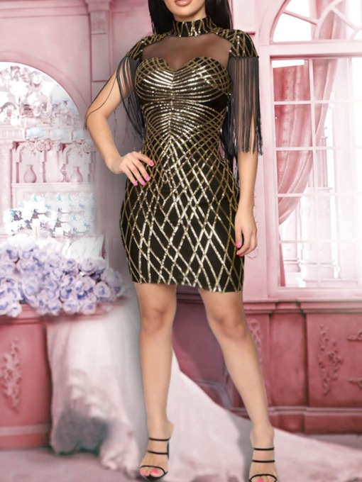 Short Sleeve Mesh Above Knee Stand Collar Sexy Women's Bodycon Dress