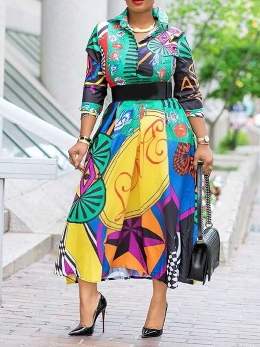 Lapel Long Sleeve Print Mid-Calf Casual Women's Maxi Dress