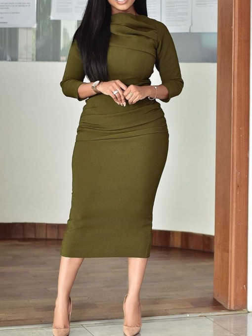Mid-Calf Three-Quarter Sleeve Pleated Plain Women's Bodycon Dress