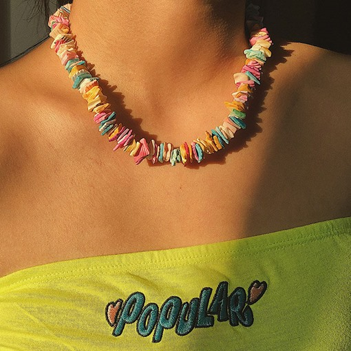 Color Block Handmade Sweet Shell Patchwork Holiday Necklaces