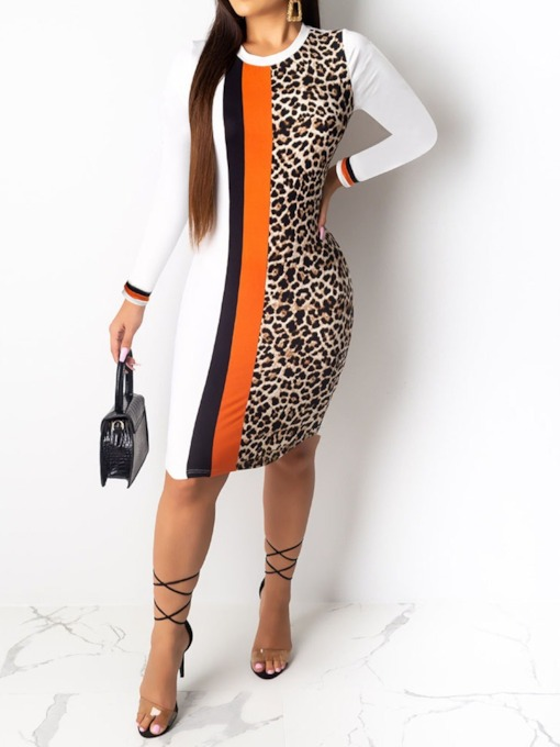 Long Sleeve Knee-Length Print Round Neck Leopard Women's Bodycon Dress