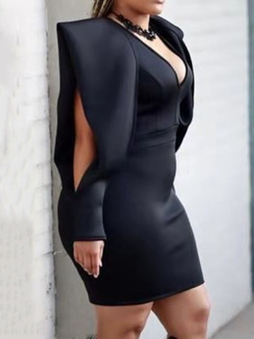 Hollow Above Knee V-Neck Long Sleeve Plain Women's Bodycon Dress